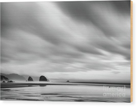 Cannon Beach Long Exposure Sunrise In Black And White Wood Print