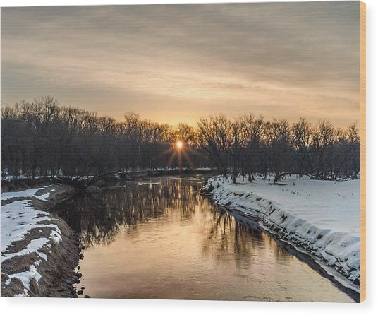 Cannon River Sunrise Wood Print