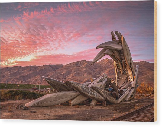 Canoe Art Sculpture With Pink Clouds Wood Print
