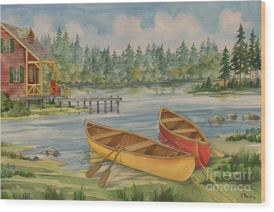 Canoe Camp With Cabin Wood Print