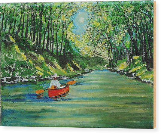 Canoe Cruising Wood Print