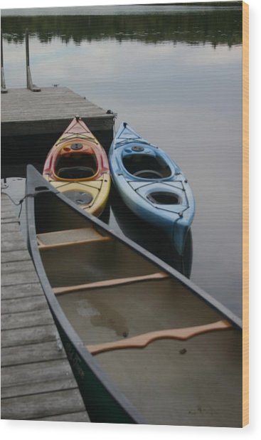 Canoe Wood Print by Dennis Curry