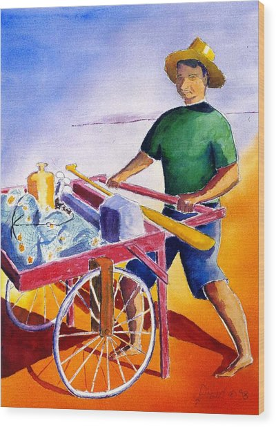 Canoe Fisherman With Cart Wood Print by Buster Dight