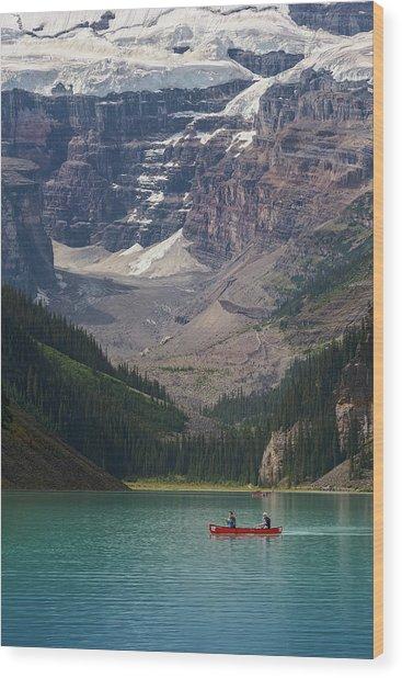 Canoe On Lake Louise Wood Print