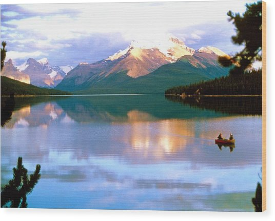 Canoe On Malign Lake Wood Print