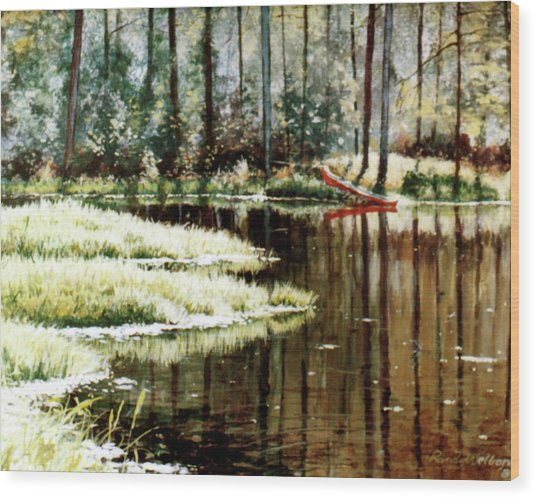 Canoe On Pond Wood Print