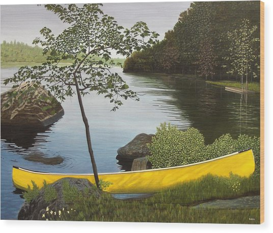 Canoe On The Bay Wood Print