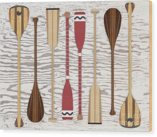 Canoe Paddles And Oars Over Wood Wood Print