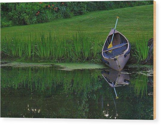 Canoe Reflection Wood Print