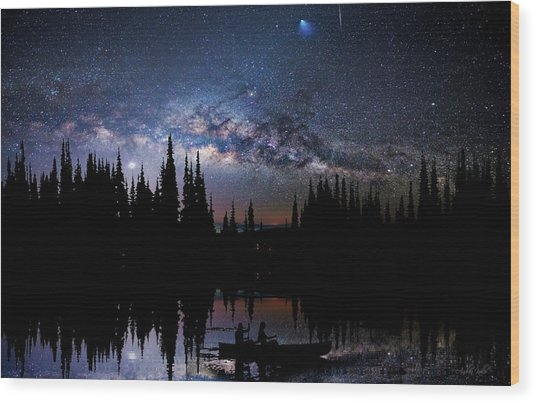 Canoeing - Milky Way - Night Scene Wood Print