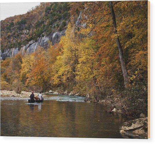 Canoeing The Buffalo River At Steel Creek Wood Print