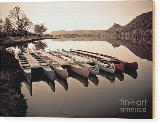 Canoes In The Early Morning Wood Print