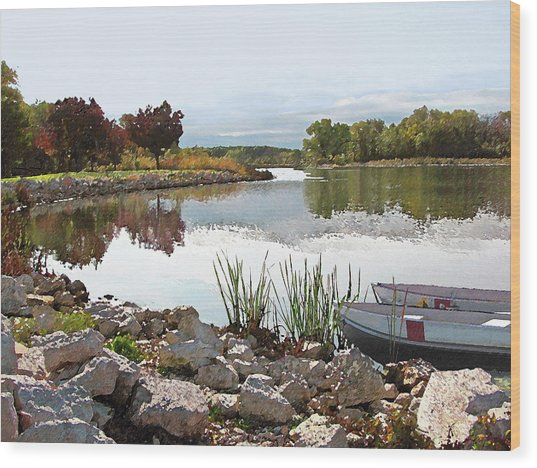Canoes On Monee Lake - Limited Edition Wood Print