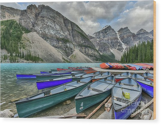Canoes On Moraine Lake  Wood Print