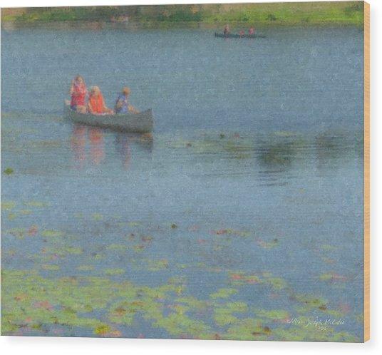 Canoes On Shovelshop Pond Wood Print