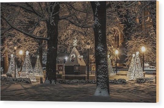 Canopy Of Christmas Lights Wood Print