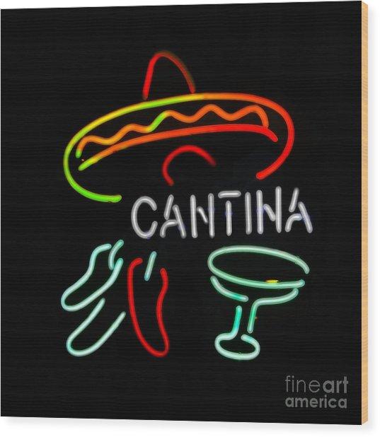 Cantina Neon Sign Wood Print