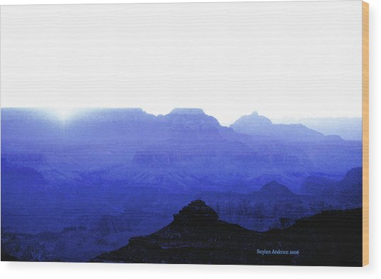 Canyon In Blue Wood Print