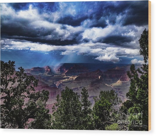 Canyon Rains Wood Print
