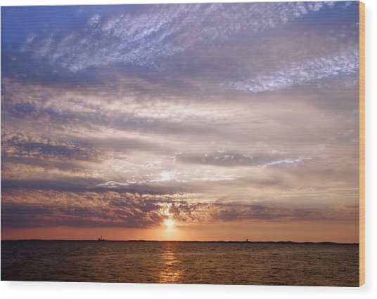 Cape Cod Bay And Sky Wood Print