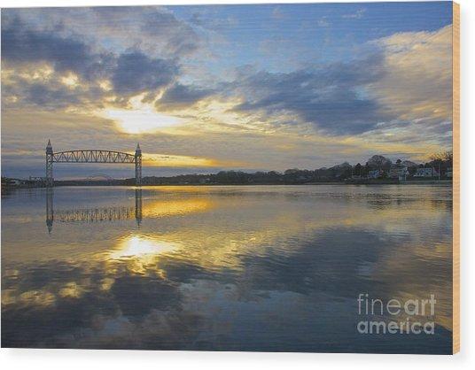 Cape Cod Canal Sunrise Wood Print