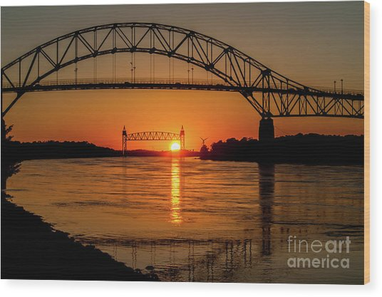 Cape Cod Canal Sunset Wood Print