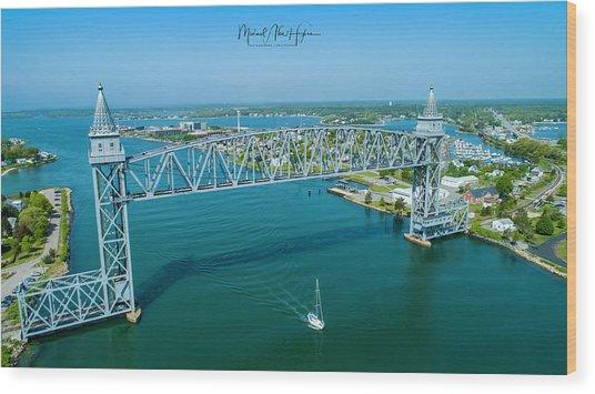 Cape Cod Canal Suspension Bridge Wood Print
