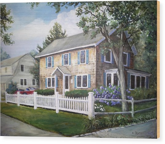 Cape Cod House Painting Wood Print