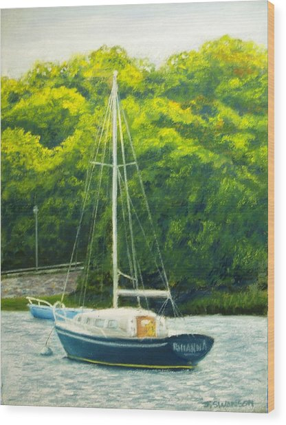 Cape Cod Sailboat Wood Print by Joan Swanson