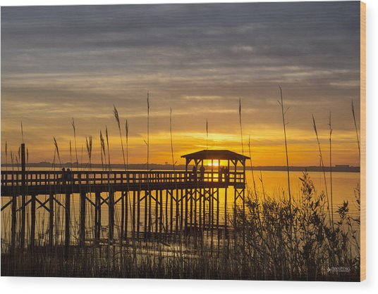 Cape Fear Sunset Fort Fisher Wood Print