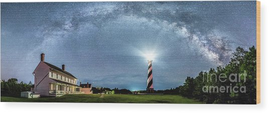Cape Hatteras Light House Milky Way Panoramic Wood Print