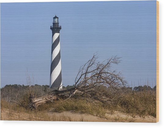 Cape Hatteras Lighthouse With Driftwood Wood Print
