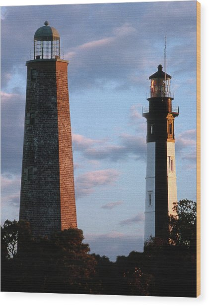 Cape Henry Lighthouses In Virginia Wood Print
