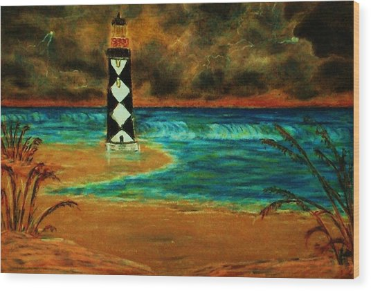 Cape Lookout Light House Wood Print by Jeanette Stewart