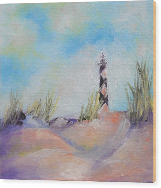 Cape Lookout Lighthouse Wood Print by Donna Pierce-Clark