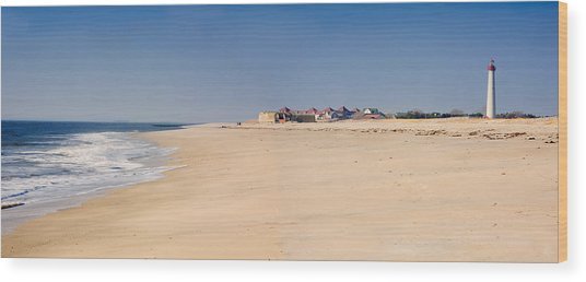 Cape May Beach Panorama New Jersey Wood Print by George Oze