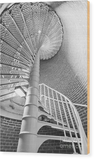 Cape May Lighthouse Stairs Wood Print