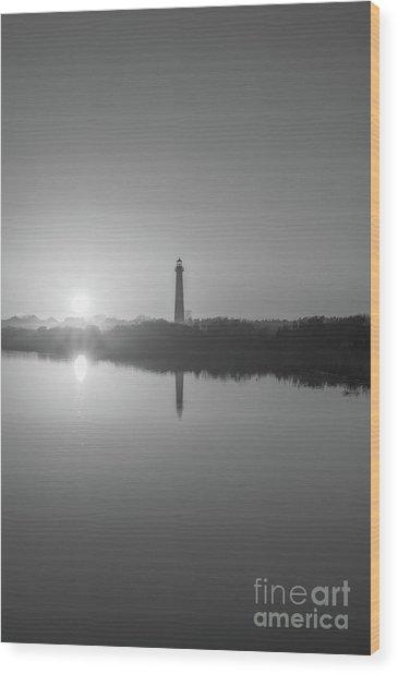 Cape May Reflections Bw Wood Print
