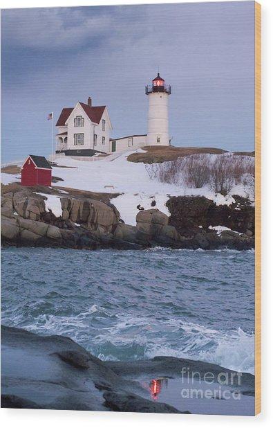 Cape Neddick Light At Dusk, York, Maine 21073 Wood Print