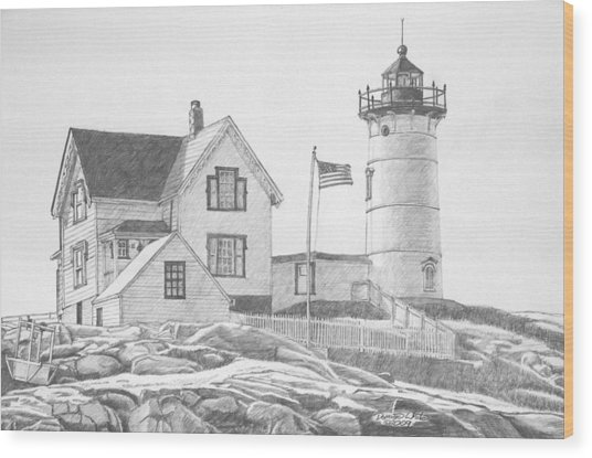 Cape Neddick Light House Drawing Wood Print
