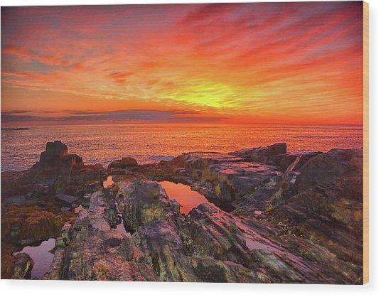 Cape Neddick Sunrise Wood Print