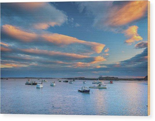Cape Porpoise Harbor At Sunset Wood Print