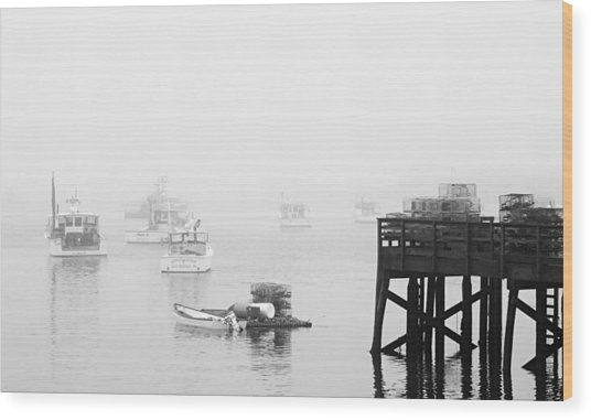 Cape Porpoise Lobster Boats In Fog Wood Print