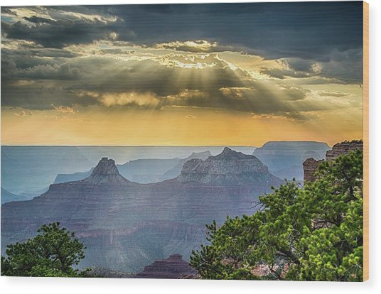 Cape Royal Crepuscular Rays Wood Print