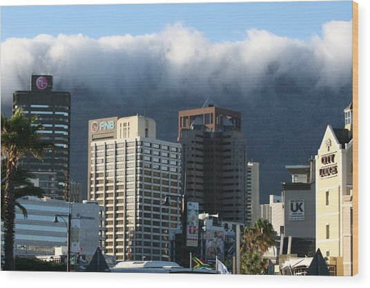 Cape Town - Smoking Mountain Wood Print by Andrei Fried