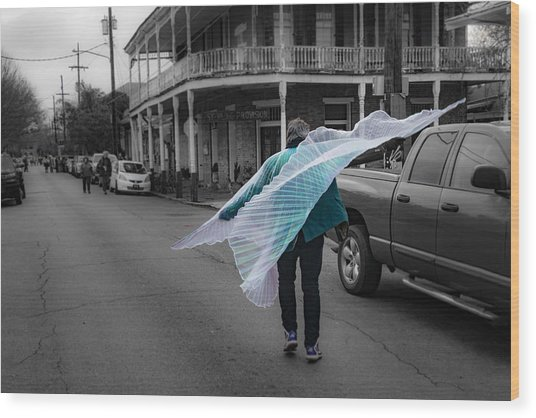 Caped Street Dancer On Frenchmen Street Wood Print