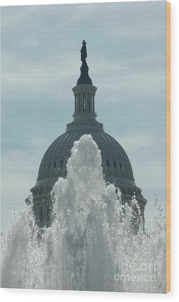Capital Dome Behind Fountain Wood Print