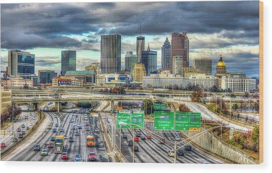 Capital Of The South Atlanta Skyline Cityscape Art Wood Print