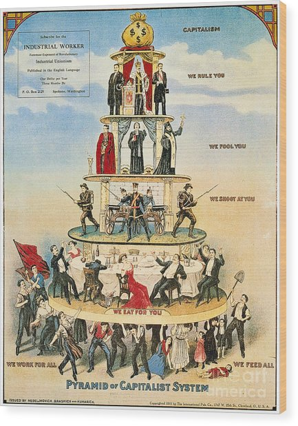 Capitalist Pyramid, 1911 - To License For Professional Use Visit Granger.com Wood Print