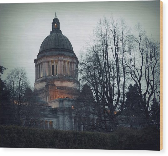 Capitol Aglow Wood Print